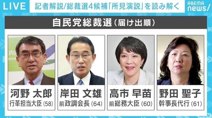 """「野田聖子さんが最後持っていった感じはある」 記者が見た4候補の""""所見演説"""" 自民党総裁選"""