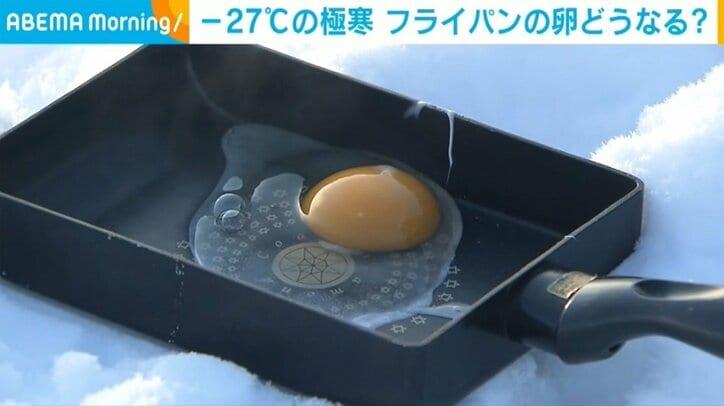 """マイナス27.3度で卵を割るともはや""""目玉焼き""""に? 北海道で厳しい寒さ"""