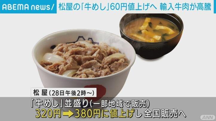 松屋の「牛めし」60円値上げへ輸入牛肉の高騰が要因
