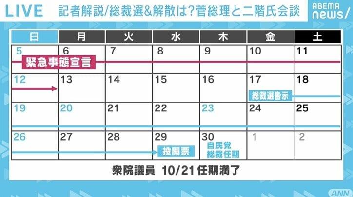 """自民党総裁選、""""9月17日告示、29日投開票""""へ…菅総理は党の実力者たちの支持を背景に、政策論争を通して実績アピールか"""